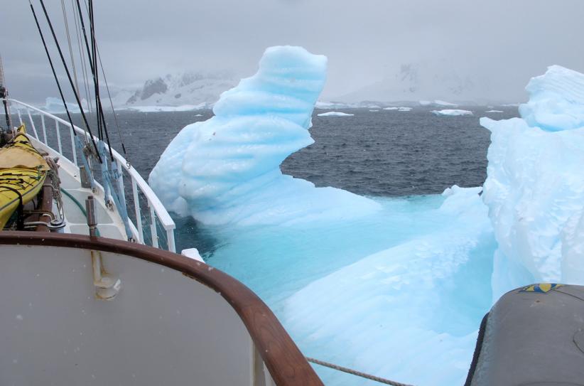 Australis Passes a berg - Ice Axe Antarctica Australis 2010