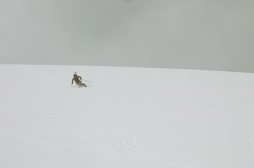 Kip making some high speed turns in Antarctica - Ice Axe 2010