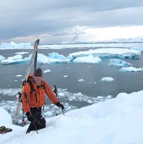 Doug climbing Dielaite Island - Ice Axe Antarctica 2010