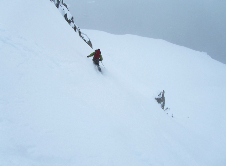 Skiing the Wintervention Couloir on Wienke Island - Ice Axe 2010