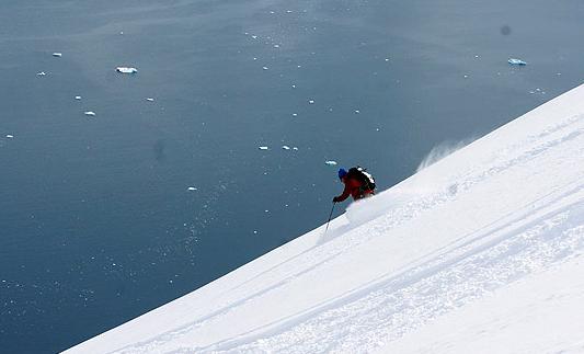 Kip skiing in Antarctica - Ice Axe Yacht Australis 2010