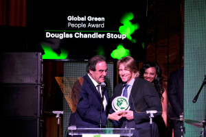 LOS ANGELES, CA - FEBRUARY 22: Filmmaker Oliver Stone and honoree Douglas Stoup speak onstage during the 14th Annual Global Green Pre Oscar Party at TAO Hollywood on February 22, 2017 in Los Angeles, California. (Photo by Frazer Harrison/Getty Images for Global Green)