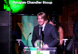 LOS ANGELES, CA - FEBRUARY 22: Honoree Douglas Stoup speaks onstage during the 14th Annual Global Green Pre Oscar Party at TAO Hollywood on February 22, 2017 in Los Angeles, California. (Photo by Frazer Harrison/Getty Images for Global Green)